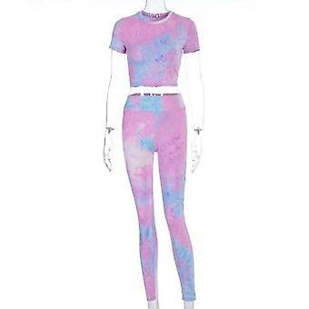 Tie Dye Sexy Crop Tops Leggings Bodycon 2 Pieces Set Summer Women