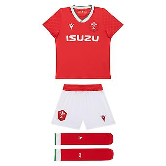 Macron Wales 2020/21 Infant Kids Home Replica Rugby Union Kit Set Red