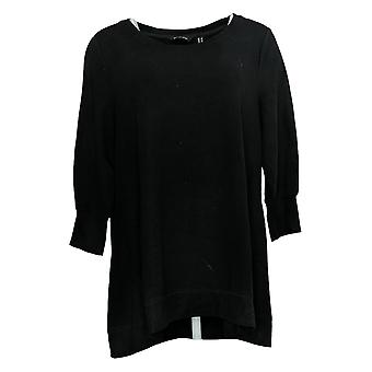 H Par Halston Women's Top Français Terry 3/4 Sleeve Scoop Neck Black A311454