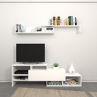 Mobile Phoenix TV Port Biały kolor w płytce wiórowej Melamine, L150xP27xA45 cm, L150XP14xA16 cm