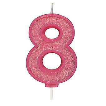 Vaaleanpunainen kimalteleva numerokynttilä - numero 8 - 70mm