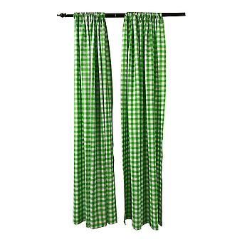 La Linen Pack 2  Polyester Gingham Checkered Backdrop, 58 By 96-Inch,Lime/White