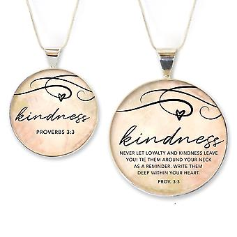 Kindness – Proverbs 3:3 Silver-plated Scripture Pendant Necklace
