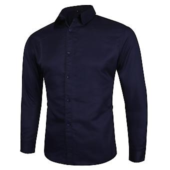 Swotgdoby Men's Business Casual Simple Solid Color Long-sleeved Shirt