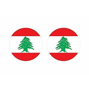 2x stick klistermärke rund kackerlacka flagga liban