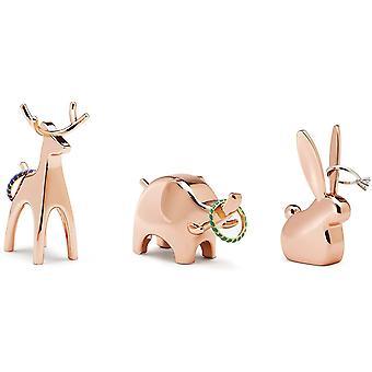 FengChun Anigram Ringhalter Modernes Ringablage 3er-Set Bestehend aus Hase, Elefant und Rentier,