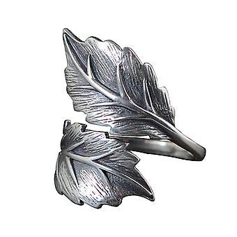 925 Silver Antique Women's Open Thai Silver Leaf Ring