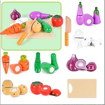 Wooden Velcro Fruit Cutting Play Food Simulation Toys Set For Toddlers