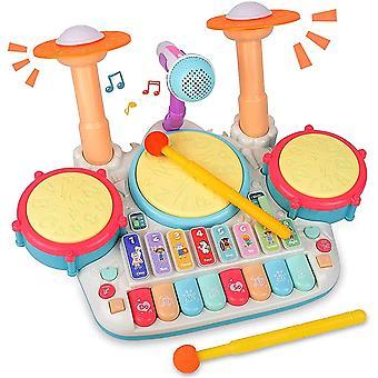 Kindertrommel Set, Baby Musical Trommel & Klavier Spielzeug, Musik Schlagzeug mit Blinkenden Lichtern