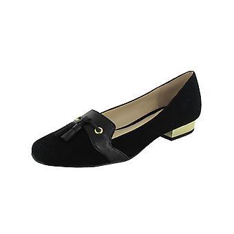 Isaac Mizrahi Live Womens Paulina Black Suede Flat Shoes