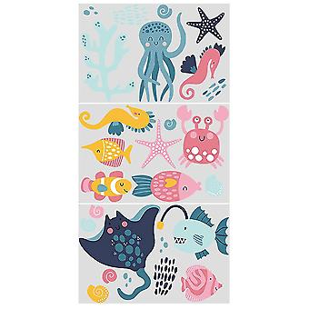 3 Children's Funny Ocean World Glowing Wallpaper Stickers Children's Theme Room Decoration