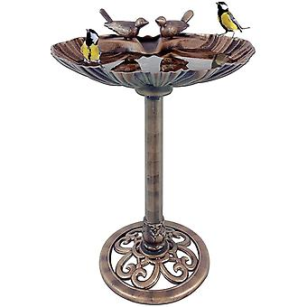 GardenKraft Clam Shell Bird Bath With Stones