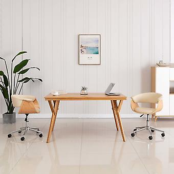 vidaXL قطب مكتب كرسي كريم بنتوود والجلود الاصطناعية