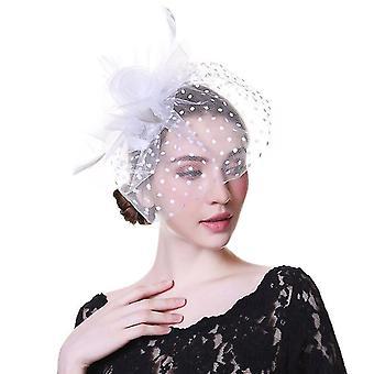 Flower Mesh Ribbons, Federn Fedoras Hut - Party Headwear(N)