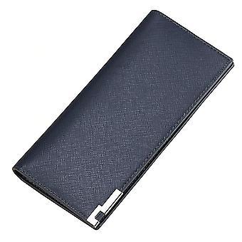 Mannen lange multi-card positie cross grain metalen portemonnee kaart geval (Blauw)