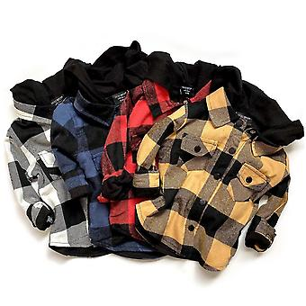 Casual Toddler Hooded, Plaid Print Long Sleeve Button Cotton Sweatshirt