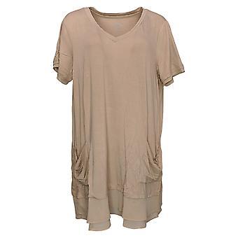 LOGO by Lori Goldstein Women's Top Short Sleeve Beige A214759