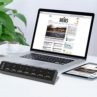 On/off Switch 7 Port Usb 2.0 High Speed Hub Sharing Switch For Laptop Pc