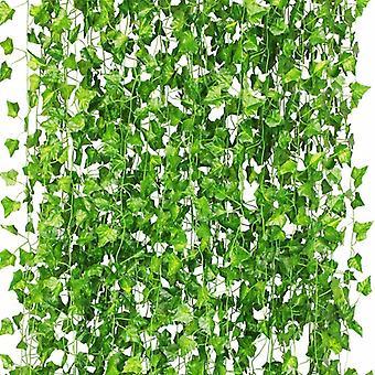 Plantes suspendues artificielles, faux lierre feuilles Garland Cadeaux Fête Jardin Mariage Mur Maison Décor 12 Pièces Lierre