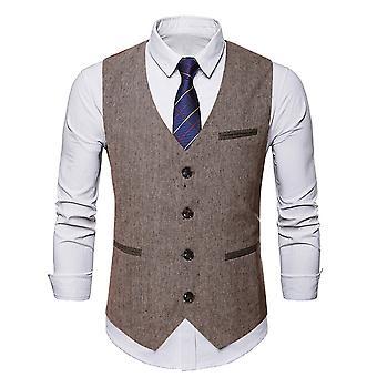 Silktaa Men's Tweed Suit Vest Formal Dress Business Waistcoat