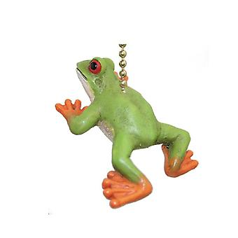 Tropical Rain Forest Green Tree Frog Fan Light Pull