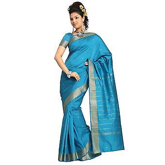 Turquoise Art Silk Saree Sari fabric India Golden Border