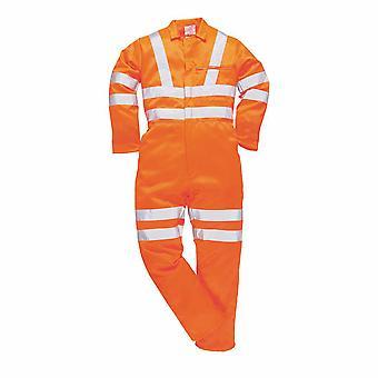 Portwest - Hi-Vis ασφάλεια workwear πολυ-βαμβάκι Coverall RIS Πορτοκαλί Μεγάλο