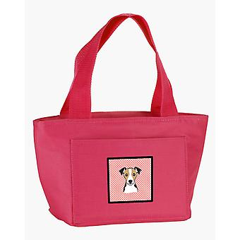 Checkerboard Pink Jack Russell Terrier Lunch Bag