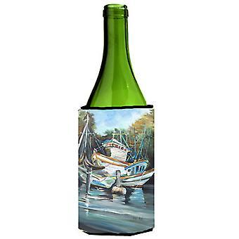 Cala de camaroneros estadounidenses y barcos camaroneros botella de vino bebidas aislador Hugger