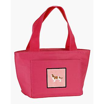 Cavalier King Charles Spaniel Checkerboard Pink Lunch Bag