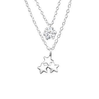 Trippel Star lagdelte kjede - 925 Sterling sølv juveler halskjeder - W33019x