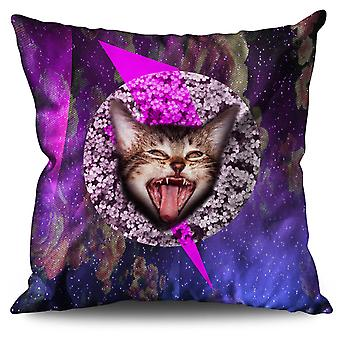 Abstract Cute Funny Cat Linen Cushion 30cm x 30cm | Wellcoda