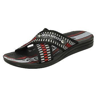 Mens Sandos Casual Flip Flops P508 - Black Synthetic - UK Size 6.5 - EU Size 40 - US Size 7.5