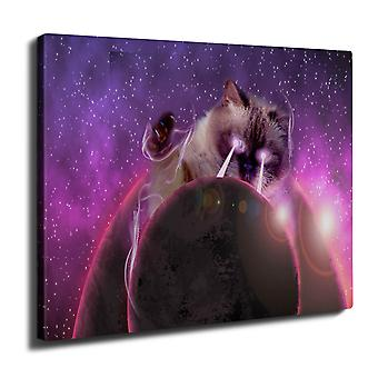 Space Cat Laser Eye Wall Art Canvas 40cm x 30cm | Wellcoda