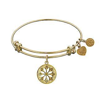 "Stipple Finish Brass Daisy Flower Angelica Bangle Bracelet, 7.25"""