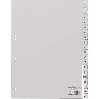 Kestävä 6510 indeksi A4 A-Z polypropeeni harmaa 20 jakajat Koho kuvioitu väli lehdet 651010