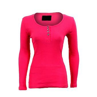 Neue Womens Diamond-Button ausgestattet gerippt Langarm Top Damen Tshirt