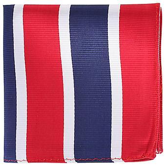 Knightsbridge Neckwear Çizgili İpek Cep Meydanı - Kırmızı/Gümüş/Lacivert