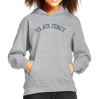 US Airforce Training Navy Blue Text Distressed Kid's Hooded Sweatshirt