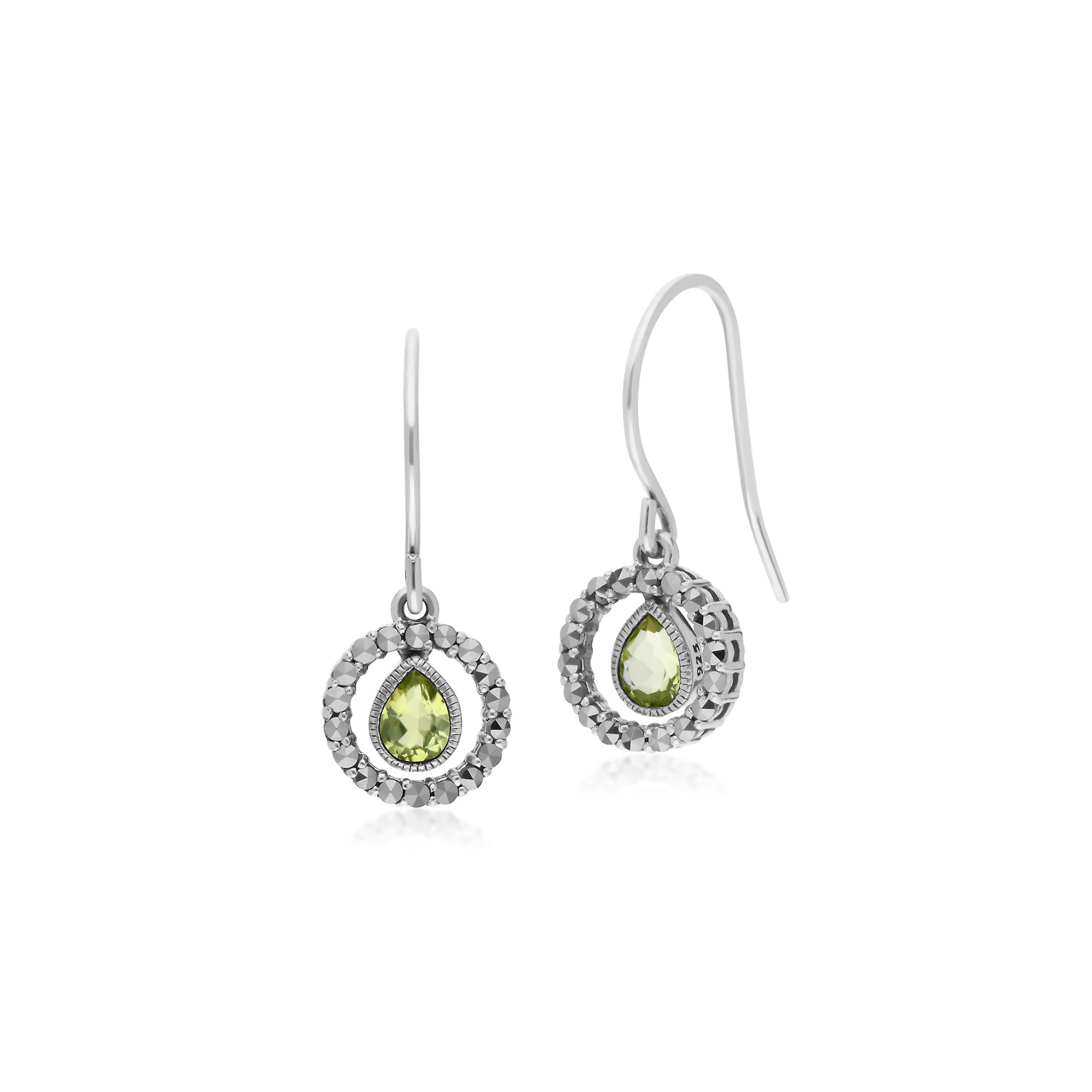 Gemondo Sterling Silver Tear Drop Peridot and Round Marcasite Drop Earrings