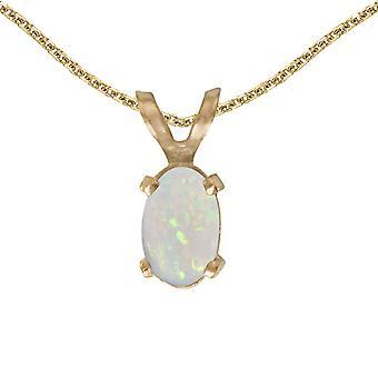LXR 14k or jaune or ovale pendentif opal 0.19 ct