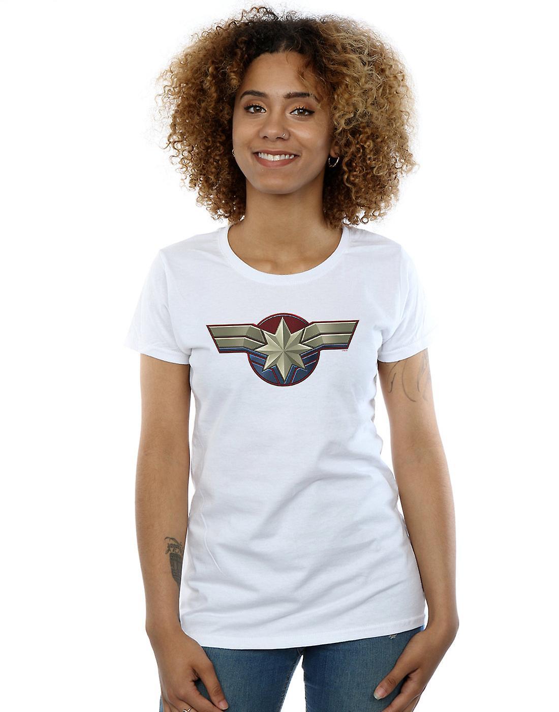 Marvel Women's Captain Marvel Chest Emblem T-Shirt