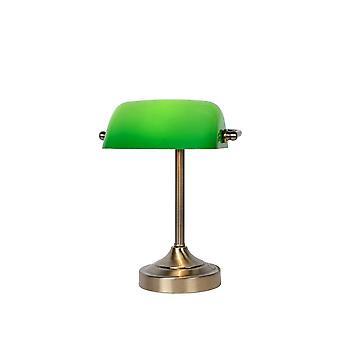 Lucide banchiere classico metallo bronzo e verde lampada da scrivania