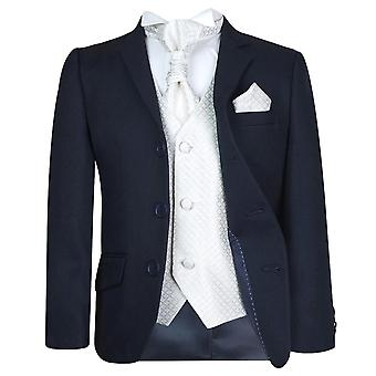 Boys New 5 Pc Navy & Ivory Wedding Cravat Suit