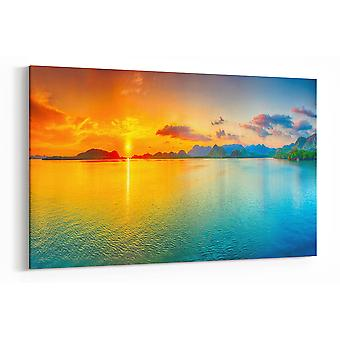 Large A1 A2 A3 Panel Panoramic Canvas Wall Art Painting of Beach Sunset for your Living Room Prints - Pictures