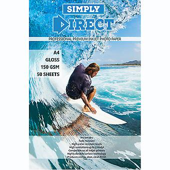 50 x Simply Direct A4 Gloss Inkjet Photo FSC Printing Paper - 150gsm - Professional Premium Photographic Paper