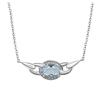 Ah! Jewellery Sterling Silver Pendant Necklace With An Oval Aquamarine Crystal From Swarovski