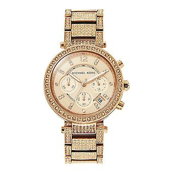 Michael Kors Watches Mk5663 Parker Rose Gold Glitz Ladies Chronograph Watch