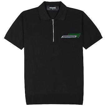 Dsquared2 Logo Zip Polo Shirt Black