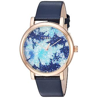Timex Womens Crystal Bloom Blue/Rose Gold Floral Leather Strap Watch TW2R66400